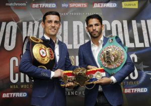 TWO WORLDS COLLIDE PRESS CONFERENCEHOTEL FOOTBALL,MANCHESTERPIC;LAWRENCE LUSTIGWBA CHAMPION ANTHONY CROLLA AND WBC CHAMPION JORGE LINARES COME FACE TO FACE AS THEY ANNOUNCE THEIR UNIFICATION FIGHT AT MANCHESTER ARENA ON SEPTEMBER 24